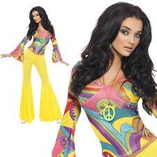 Fever 70s Groovy Babe Adult Womens Smiffys Fancy Dress Costume - UK 8-10