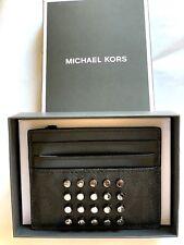 Michael Kors MENS JET SET TALL ATM CREDIT CARD CASE Stud Black BNIB