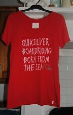 WOMENS QUIKSILVER T-SHIRT - SIZE SMALL - RED - NEW WITHOUT TAGS