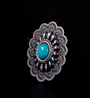 10PC 35*28MM Southwest Oval Horse Saddles Turquoise Antique Silver Finish Concho