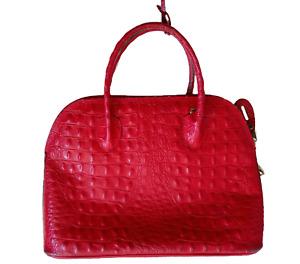 Fabulous RED CROCODILE CROC Faux Handbag - Huge!