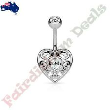 316L Surgical Steel Silver IP  Belly Ring with Clear Gem Vintage Filigree Heart