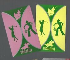 Playing Swap Cards 2 VINT SPORTY LADY & GENT  GOLF TENNIS HORSE JUMPING DECO 209