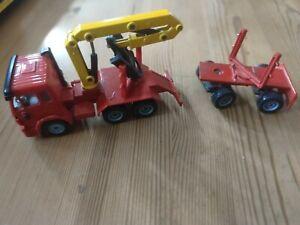 Siku Holztransporter Modell Lkw Zugmaschine mit Nachläufer, ohne Holzstämme