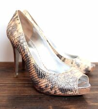 "MARCIANO SILVER PYTHON SNAKE GENUINE LEATHER PEEP TOE 4.5""HIGH HEEL SHOES 8.5B"