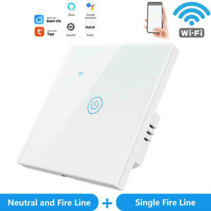 WiFi Smart Light Switch Wall Touch Voice Remote Control No Neutral Wire Required