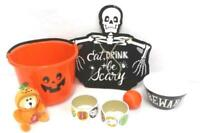 Mixed Lot Halloween Decorations Bucket Talking Bear Pal Bowl Stickers Sign Ball