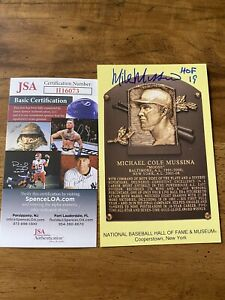 BALTIMORE ORIOLES MIKE MUSSINA SIGNED GOLD HALL OF FAME POSTCARD JSA COA PLAQUE