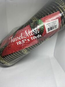 "Tinsel Mesh. Black And Gold, 10.5 ""x 10yd"
