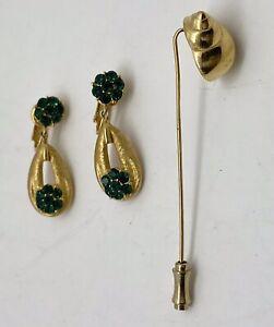 Lot Crown Trifari Green Rhinestone Earrings Gold Conch Shell Stickpin