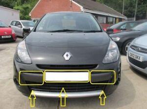 Pour Renault Clio 2009-2012 Avant Pare-Choc Moulure Set 3 Pièces Licence Plaque
