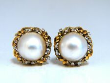 .30ct Natural Diamonds Mabe Pearl Earrings 14kt