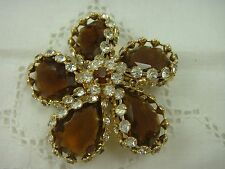 VINTAGE CLEAR RHINESTONE AMBER TEAR DROP DAISY FLOWER GORGEOUS PIN BROOCH