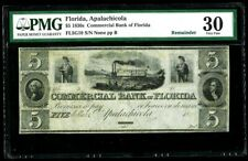 1830s APALACHICOLA, FLORIDA $5 COMMERICAL BANK OF FLORIDA NOTE PMG VERY FINE 30
