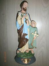 ANCIENNE STATUE RELIGIEUSE/SAINT JOSEPH ET L'ENFANT JESUS/PLATRE/H.45 cm/ N°5