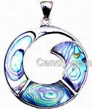 SALE Big 38mm Circle shape Blue multicolor natural Abalone Shell Pendant-pen40