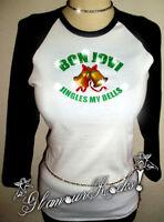 Bon Jovi Christmas Jingles My Bells Rhinestone 3/4 Sleeve Raglan Tee Shirt
