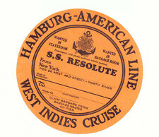 HAMBURG AMERICA LINE SS RESOLUTE WEST INDIES CRUISE OLD LUGGAGE LABEL