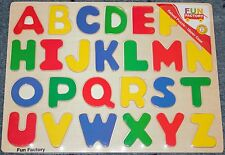 PUZZLE ~ NEW FUN FACTORY WOODEN PUZZLE ALPHABET A TO Z UPPER CASE 26 PIECES