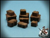 28mm  Crates Set -  Wargames Scenery  - Warhammer Wooden Boxes - 10 Pieces -
