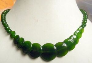 """6-20mm Dark Green natural emerald gemstone round coin beads necklace 18"""""""