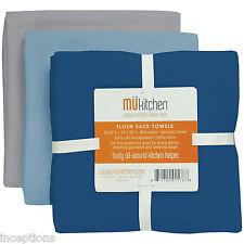 Set/3 MU Kitchen Cotton Flour Sack Tea Towels Harbor Blues Grey - NEW