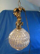 VINTAGE ANGEL CHERUB STANDING ON A GLASS BALL GLOBE DIAMOND CUT HANGING LIGHT