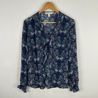 Lilac & Sage New Zealand Womens Blouse Top 12 Blue Floral Long Sleeve