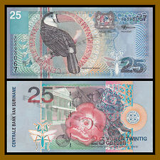 Suriname 25 Gulden, 2000 P-148 Toucan Bird Flower Butterfly Unc