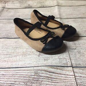 Old Navy Camel Brown Black Ballerina Flats-Toddler Girl Size 10