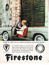 PUBLICITE ADVERTISING  1963   FIRESTONE   pneus FLANC BLANC