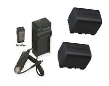 2 Batteries + Charger for JVC GZ-HD500U GZ-HD520 GZ-HD520U GZ-HD520B GZ-HD620BUS