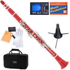 Mendini Bb Clarinet Red ABS Body +Tuner+Care Kit+Stand+11 Reeds+Case ~MCT-R