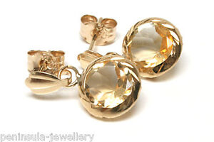 9ct Gold Citrine Round Drop D/C Earrings Gift Boxed Made in UK Birthday Gift