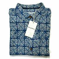 Tommy Bahama Hawaiian Shirt Size Large Blue 100% Silk Geometric Floral Aloha NWT