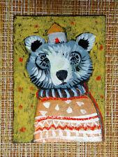 ACEO original pastel painting outsider folk art brut #010531 surreal bear