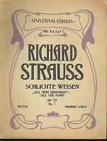 """Richard Strauss :"""" All Meine Gedanken """" Op. 21 No. 1 für Gesang und Klavier"""