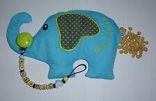 Schnullerkette mit Namen *Auto* + Kirschkernkissen *Elefant*