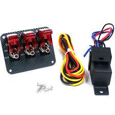 3 LED Red Light Race Ignition Engine Start Toggle Switch Panel Carbon Fiber