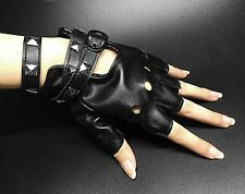 Womens Punk Rock Leather Rivet Studs Biker Driving Fingerless Half Finger Gloves