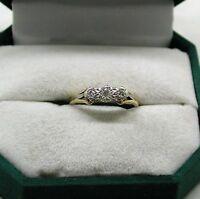 Vintage Very Nice 18ct Gold And Platinum Three Stone Diamond Ring