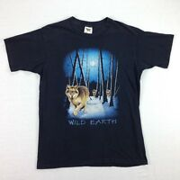 Distressed 90s Pack of Wolves Wild Earth T-Shirt size LARGE Faded Black USA Made