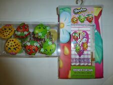 SHOPKINS Fabric Shower Curtain with Matching Shower Curtain Hooks 72 x 72 New