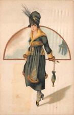 GLAMOUR WOMAN DRESS SHOES UMBRELLA PORTUGAL STAMP POSTCARD (c. 1920)