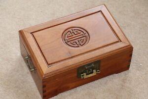 Large hard wood chinese jewellery box