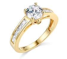 2.2 Ct Round Cut Engagement Wedding Ring Real 14K Yellow Gold Diamond Simulation