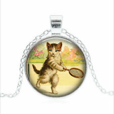 Kitten Playing Tennis Tibet silver Glass dome Necklace chain Pendant Wholesale