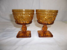 Indiana Glass Set of 2 Park Lane Amber Square Footed Dessert Dishes