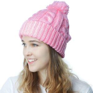 Beanie Hat - Winter Hat Thick and Warm Pom Pom Fleece Lined Beanie 3030