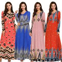 Dubai Kaftan Women Printed Gown Abaya Muslim Cocktail Party Maxi Islamic Dress